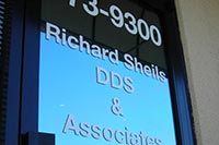 window lettering decals for Dr. Sheils